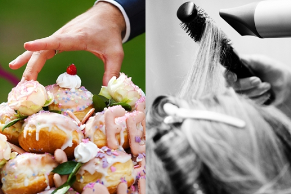 Hochzeitsfotograf - Pfannkuchen als Hochzeitstorte und Haarstyling