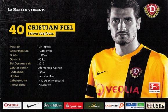 Firmenfotograf - Autogrammkarte der SG Dynamo Dresden Rückseite mit Christian Fiel