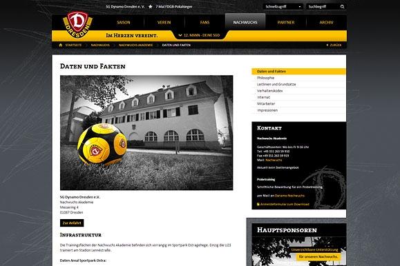 Firmenfotograf - Feature Nachwuchsarbeit auf der Internetseite der SG Dynamo Dresden