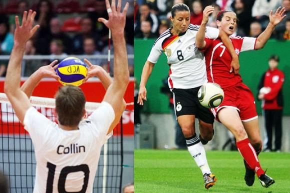 Sportfotograf - Vierarmiger Volleyballer des VC Dresdens und Zweikampf beim Frauenfußball
